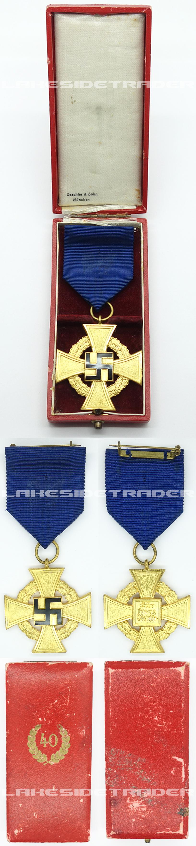 Cased 40 Year Faithful Service Cross