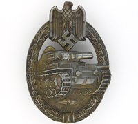 Seven Wheel Panzer Assault Badge in Bronze