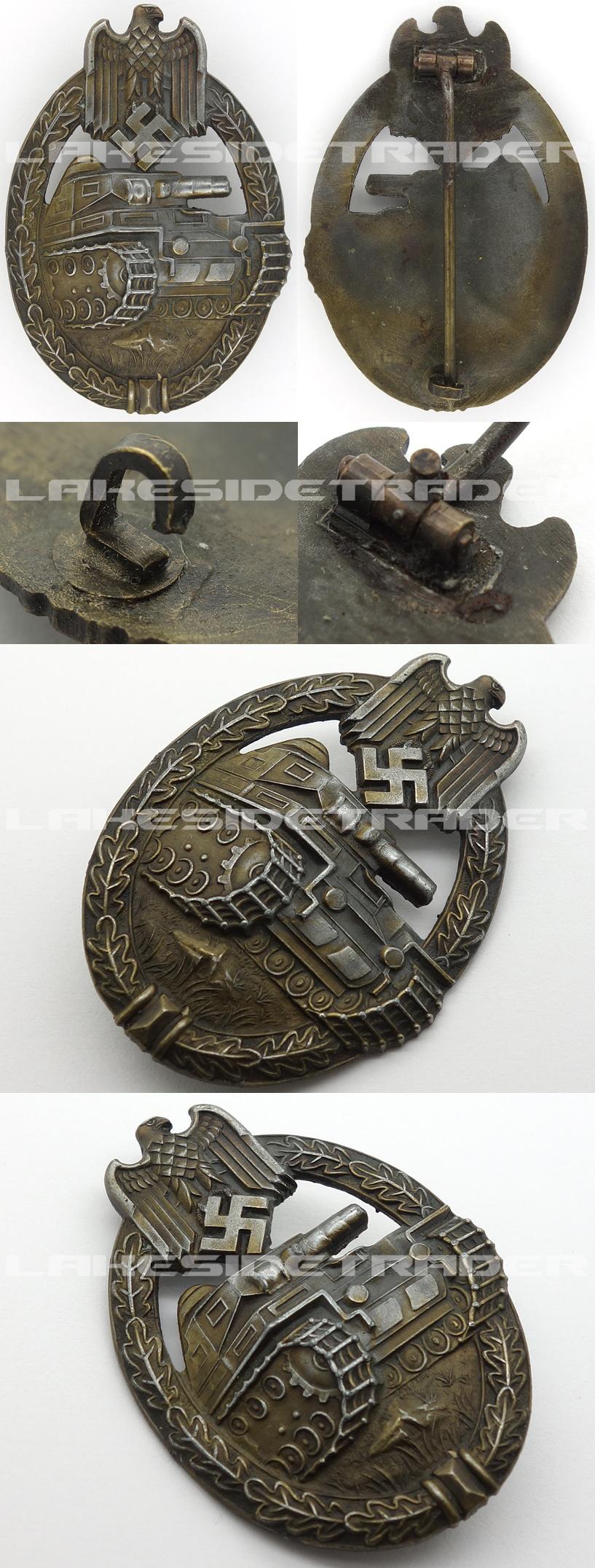 Seven Wheel Panzer Assault Badge in Bronze