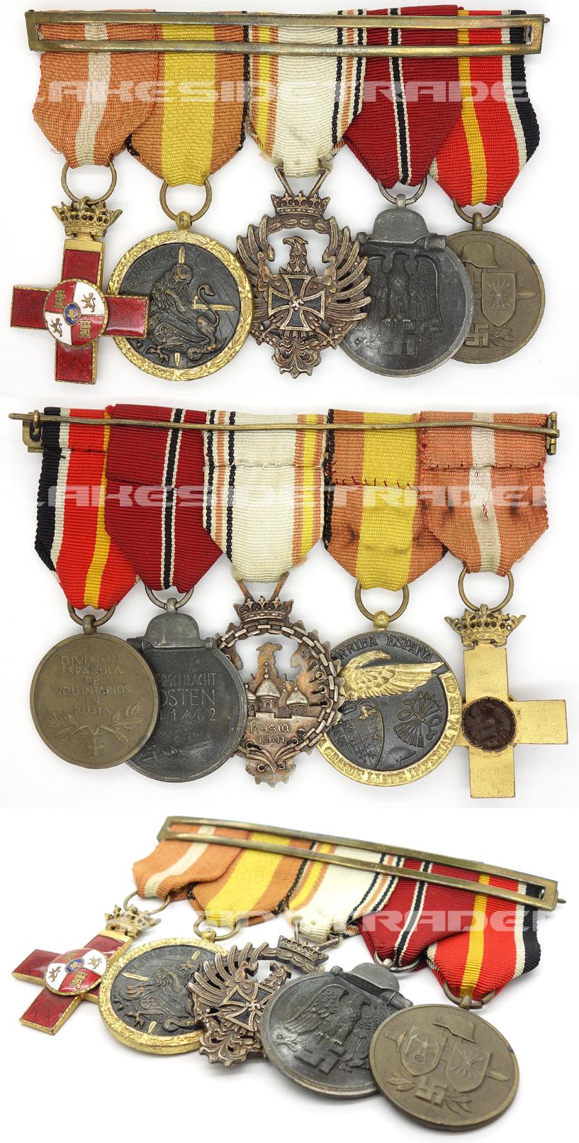 Spanish 'Blue Division' - Five Piece Medal Bar