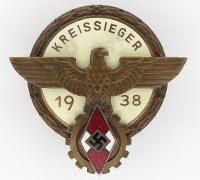 Hitler Youth Kreissieger Badge by G. Brehmer 1938
