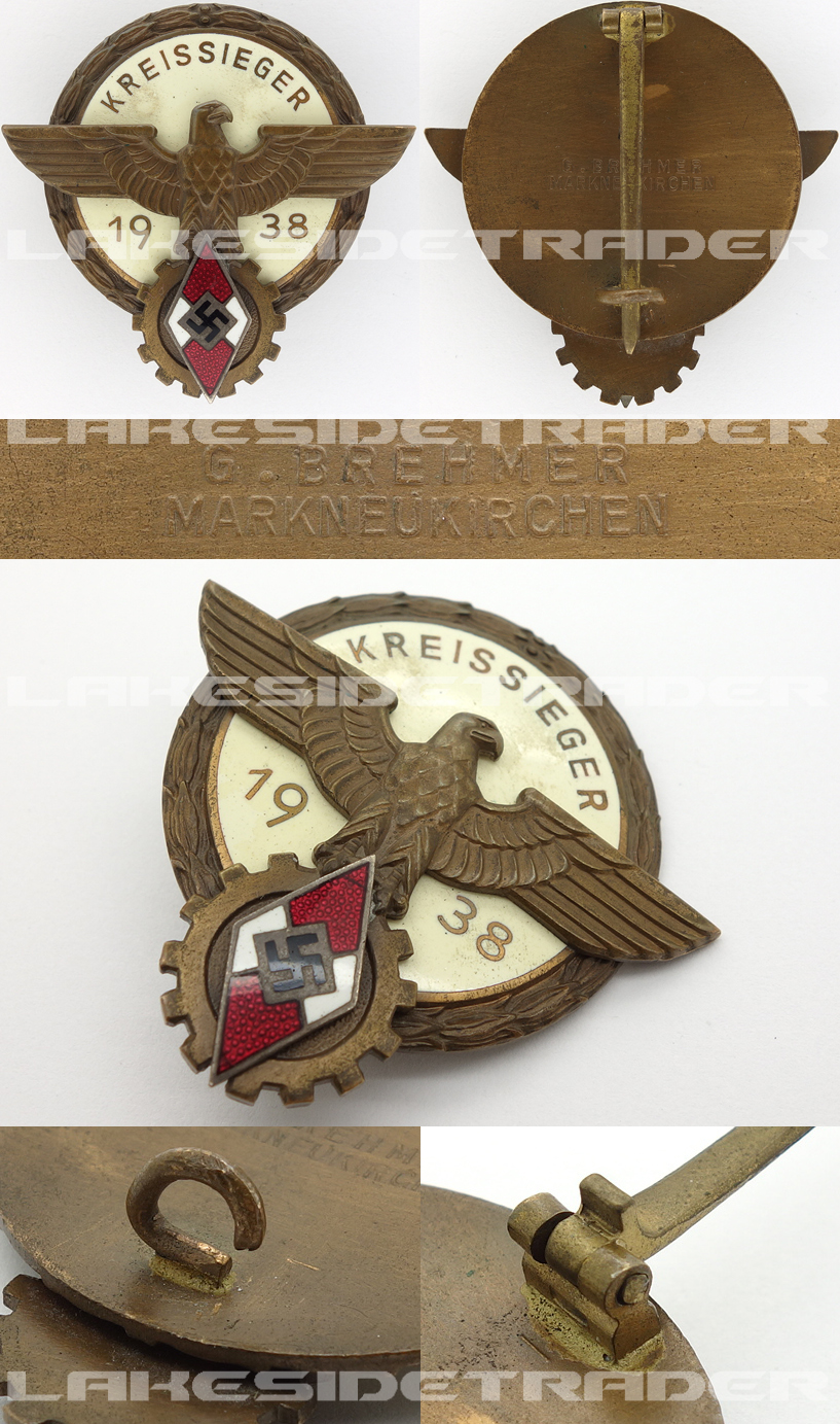 Hitler Youth Kreissieger Badge by G. Brehmer 1938
