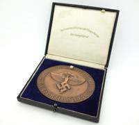 Cased NSFK Deutschlandflug Award Medallion in Bronze 1938