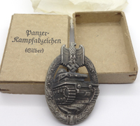 Silver Panzer Assault Badge in issue box