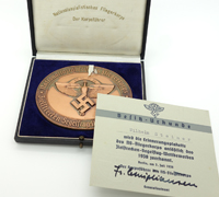 NSFK Award Medallion, Case & Certificate 1938
