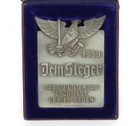 Cased HJ Baden Sport Festival Winner Plaque 1939