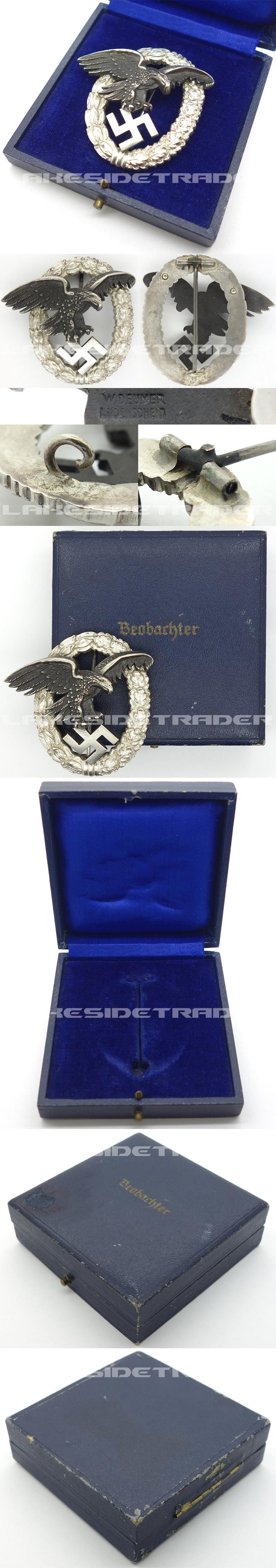 Cased Luftwaffe Observer Badge by W. Deumer