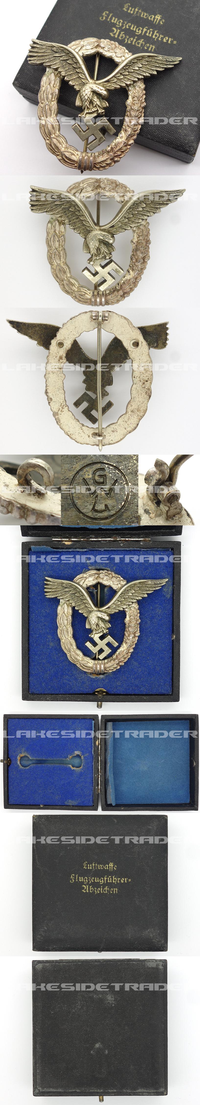 Cased Luftwaffe Pilot Badge by GWL