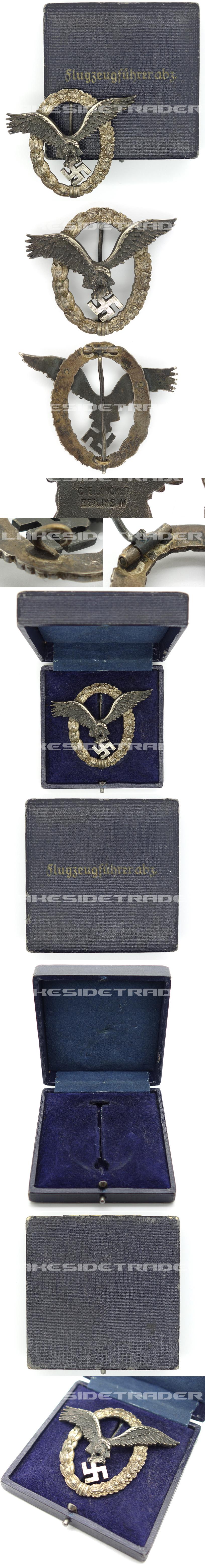 Cased J1 Pilot Badge by C.E. Juncker