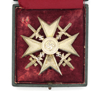 LDO Cased Silver Spanish Cross with Swords by L/13