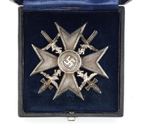Cased Silver Spanish Cross with Swords by L/12 900