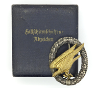 Cased Luftwaffe Paratrooper Badge by Juncker