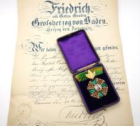 Baden Zähringer Lion Order 1st Class w Oaks & Document