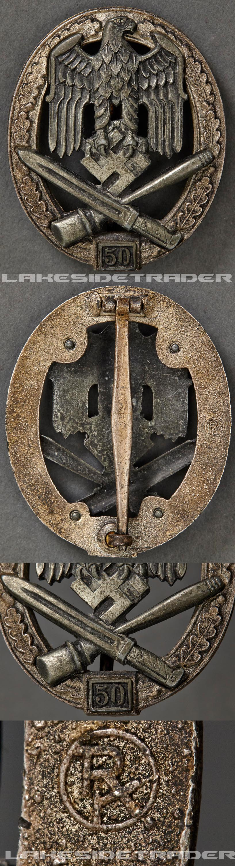 A General Assault Badge; Grade III (50) by Rudolf Karneth Badge