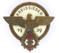 Hitler Youth Kreissieger Badge by A.G. Tham 1938