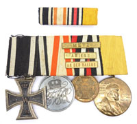4 Pc medal bar to Franco-Prussian Vet. w Ribbon bar