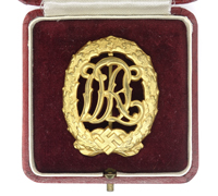 Cased DRL Sports Badge in Gold by W. Jena