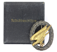 Cased Luftwaffe Paratrooper Badge by W. Deumer