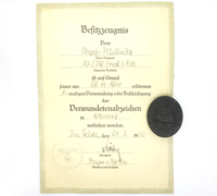 Black Wound Badge and Award Document