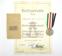 Italian-German African Campaign Medal with Packet and Award Document