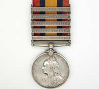 5 bar Queen's South Africa Medal 1899 w research