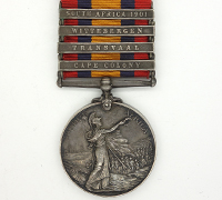4 bar Queen's South Africa Medal 1899 w partial research record