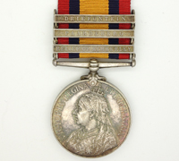 3 bar Queen's South Africa Medal 1899 w partial research