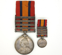 4 Bar Queen's South Africa Medal 1899 w Mini & partial research