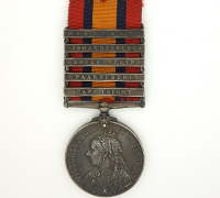 5 bar Queen's South Africa Medal 1899 w partial research record