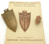 Polish Grunwald Badge 1945 w Award Document & Mini