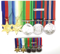 Canadian 5 piece WWII medal bar with miniatures
