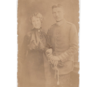Imperial officer w Bride Postcard