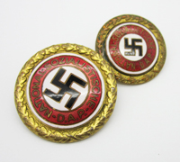 Matching Pair of Golden Party Badges