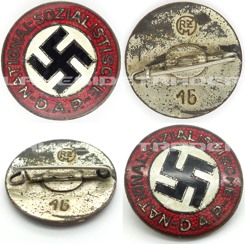 Transitional NSDAP Membership Pin by RZM 15