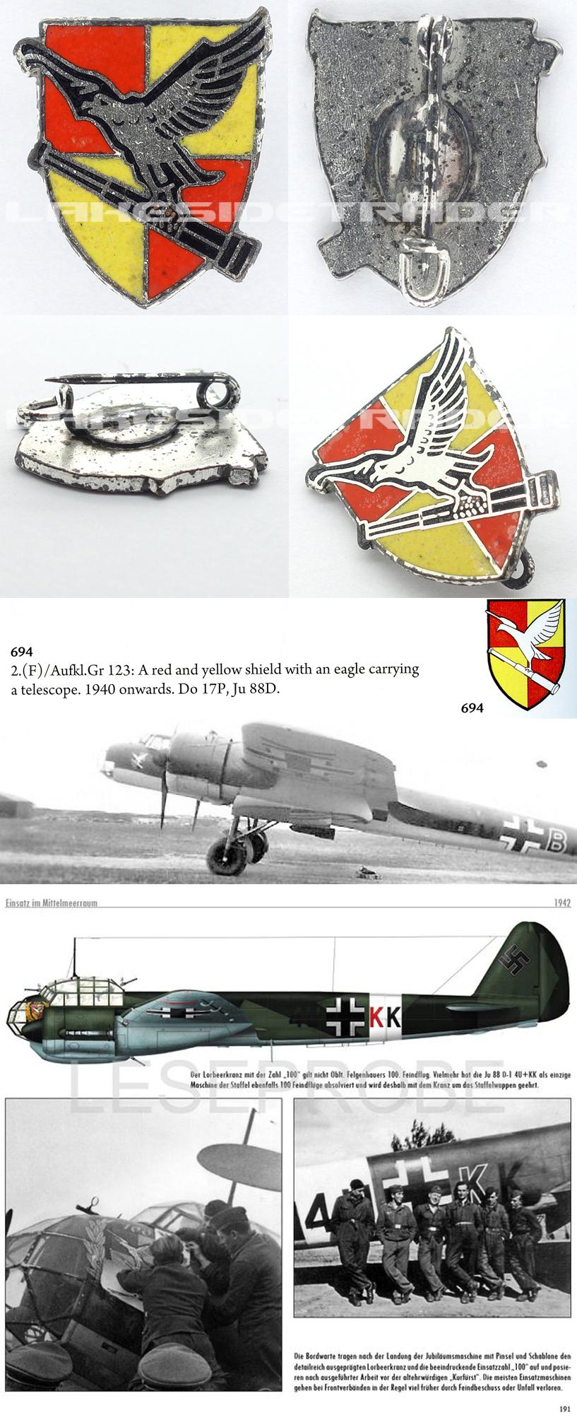 Luftwaffe 2.(F) AusfklGr 123 Division Badge