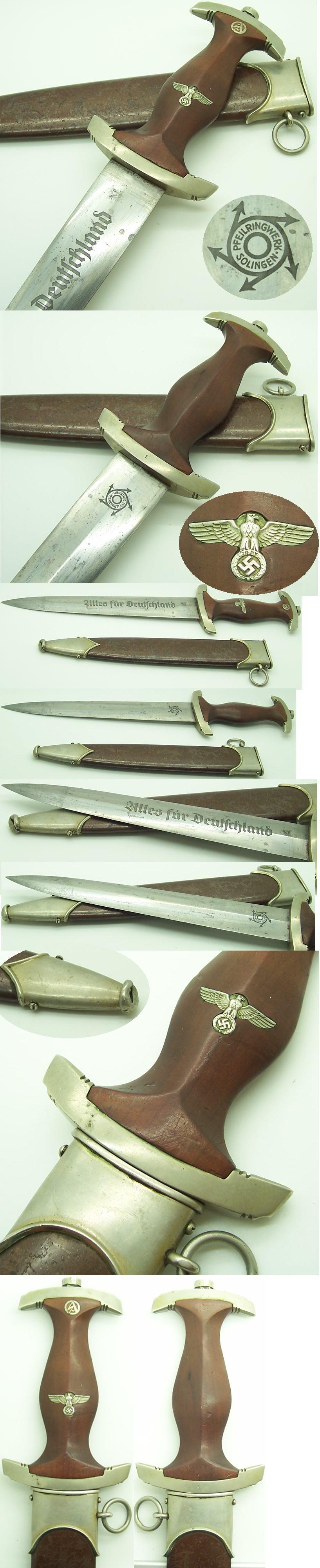 Rare Early SA Dagger by Pfeilringwerk