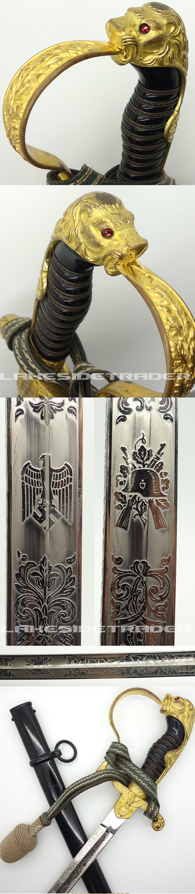 Personalized Army Lion-head with Triple Etched Blade