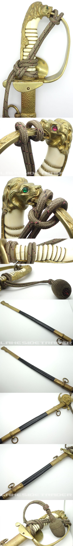 Stunning Imperial Navy Sword w Damascus Blade