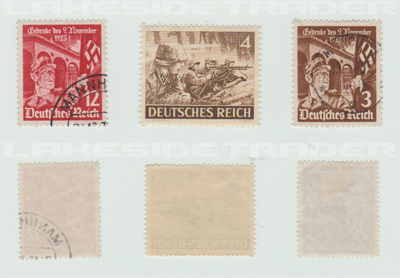 12, 4 and 3 Pfenning Deutsches Reich Stamps