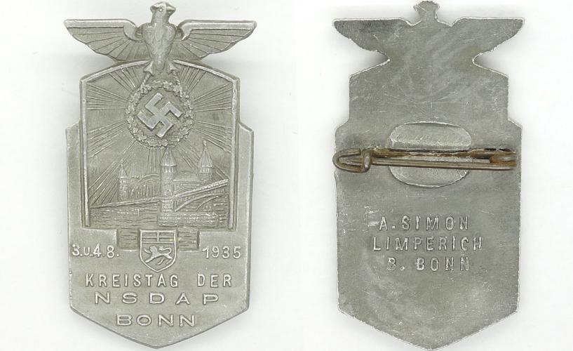 NSDAP Bonn District Council Day Badge 1935